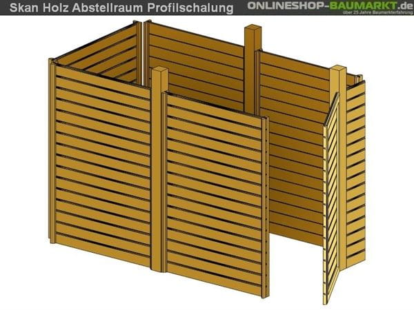 Skan Holz Abstellraum C2 für Carport 314 x 317 cm Profilschalung