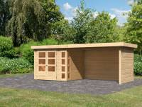 Karibu Woodfeeling Gartenhaus Kerko 3 natur mit 2,80 m Anbaudach Inklusive Rück-und Seitenwand