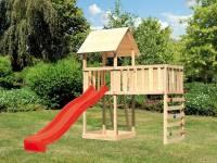 Akubi Spielturm Lotti natur mit Anbauplattform XL, Kletterwand und Rutsche rot