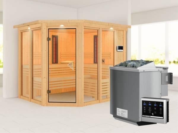 Karibu Multifunktions-Sauna Ava mit Dachkranz, 9 kW Bioofen und Infrarotstrahler