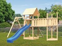 Akubi Spielturm Lotti Satteldach + Schiffsanbau oben + Einzelschaukel + Anbauplattform XL + Netzrampe + Rutsche in blau