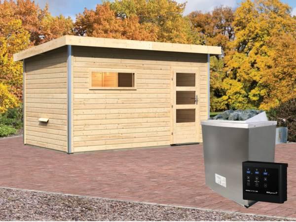 Karibu Aktionssaunahaus Erik 3 38 mm mit 9 kW Ofen ext. Strg. naturbelassen