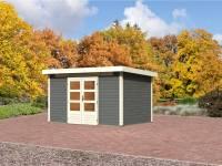 Karibu Aktions Gartenhaus Emden 7 in terragrau mit Fußboden und Dacheindeckung