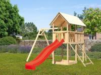 Akubi Spielturm Danny Satteldach + Rutsche rot + Einzelschaukel + Netzrampe