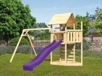Akubi Spielturm Lotti Satteldach + Schiffsanbau oben + Doppelschaukel + Kletterwand + Rutsche in violett