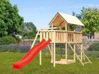 Akubi Spielturm Danny Satteldach + Rutsche rot + Einzelschaukel + Anbauplattform + Netzrampe