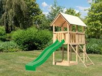 Akubi Spielturm Danny Satteldach + Rutsche grün + Netzrampe