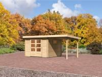 Karibu Aktions Gartenhaus Rastede 3 natur mit Fußboden und Anbaudach 2,2 m