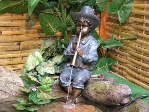 Granimex Flötenspieler, Wasserspeier - inkl. Pumpe ohne Becken, Bronze Design