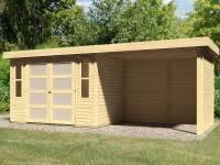 Karibu Gartenhaus Mühlendorf 4 natur 19 mm mit Anbaudach 2,60 m, Seiten- und Rückwand