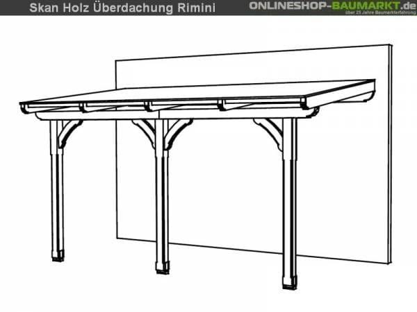 Skan Holz Terrassenüberdachung Rimini 434 x 250 cm Douglasie