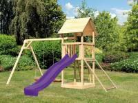 Akubi Spielturm Lotti mit Doppelschaukel, Netzrampe und Rutsche violett