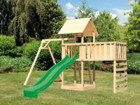 Akubi Spielturm Lotti Satteldach + Rutsche grün + Einzelschaukel + Anbauplattform XL + Kletterwand