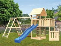 Akubi Spielturm Lotti + Schiffsanbau unten + Anbauplattform + Kletterwand + Doppelschaukel mit Klettergerüst + Rutsche blau