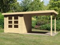 Karibu Woodfeeling Gartenhaus Askola 3 mit Anbaudach 2,75 Meter