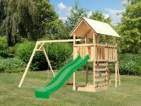 Akubi Spielturm Danny Satteldach + Rutsche grün + Doppelschaukel + Kletterwand