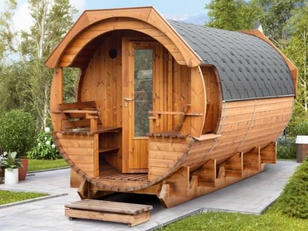Wolff Finnhaus Saunafass Svenja 2 Premium Bausatz mit schwarzen Dachschindeln