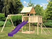 Akubi Spielturm Lotti Satteldach + Rutsche violett + Doppelschaukel + Anbauplattform + Netzrampe
