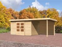 Karibu Aktions Gartenhaus Emden 7 mit Anbaudach 2,6 Meter inkl. Rückwand