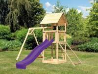 Akubi Spielturm Lotti mit Einzelschaukel, Netzrampe und Rutsche violett