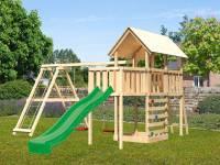 Akubi Spielturm Danny Satteldach + Rutsche grün + Doppelschaukelanbau Klettergerüst + Anbauplattform + Kletterwand