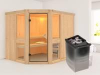 Amelia 3 - Karibu Sauna inkl. 9-kW-Ofen - ohne Dachkranz -