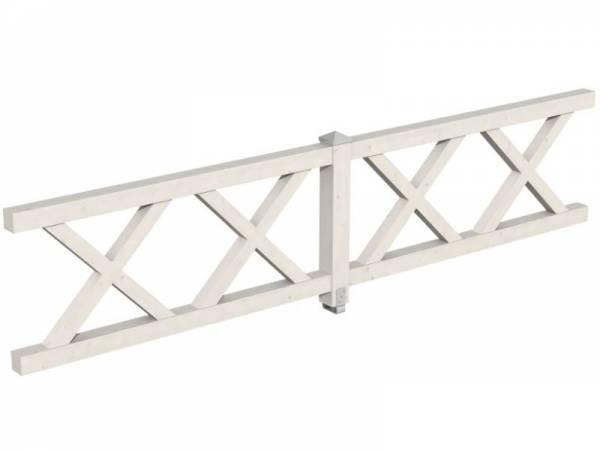 Skan Holz Brüstung für Pavillons 400 cm Andreaskreuz in weiß