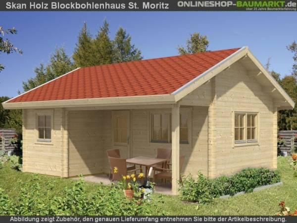 Skan Holz Blockbohlenhaus St. Moritz, Dach dämmbar für Dachziegel, 45plus, 600 x 500 cm