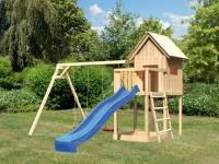 Akubi Spielhaus Frieda mit Doppelschaukel und Rutsche in blau