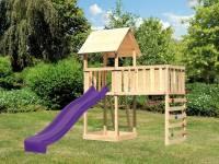 Akubi Spielturm Lotti natur mit Anbauplattform XL, Kletterwand und Rutsche violett