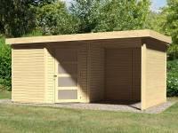 Karibu Woodfeeling Gartenhaus Schwandorf 5 natur mit Anbaudach 2,25 Meter, Seiten- und Rückwand