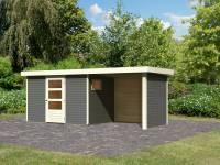 Karibu Woodfeeling Gartenhaus Oburg 4 terragrau mit Anbaudach 2,4 Meter inkl. Rück- und Seitenwand