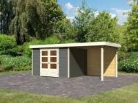 Karibu Woodfeeling Gartenhaus Askola 5 mit Anbaudach 2,4 m, Rückwand in terragrau