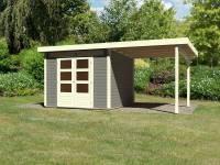 Karibu Woodfeeling Gartenhaus Kandern 6 in terragrau mit Anbaudach 2,35 Meter