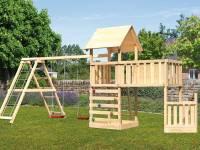 Akubi Spielturm Lotti + Schiffsanbau unten + Anbauplattform XL + Doppelschaukel mit Klettergerüst + Kletterwand