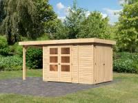 Karibu Woodfeeling Gartenhaus Retola 2 natur mit Anbauschrank und 1,50 Meter Anbaudach