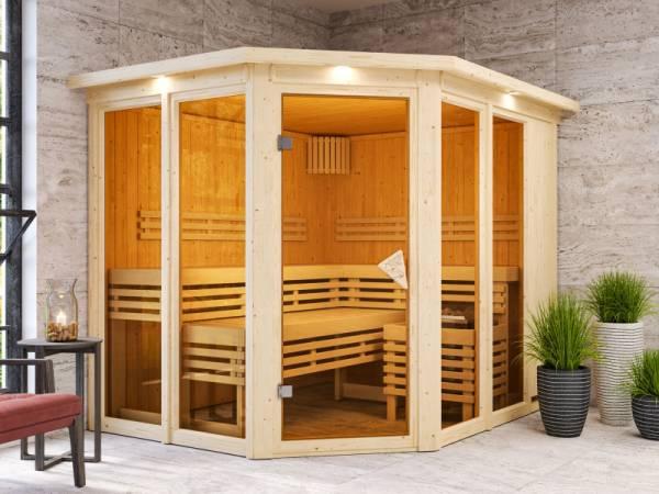 Karibu Sauna Ainur mit Dachkranz ohne Ofen 68 mm