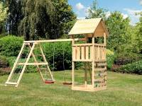 Akubi Spielturm Lotti mit Kletterwand und Doppelschaukel inkl. Klettergerüst