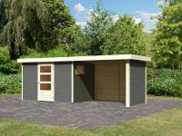 Karibu Woodfeeling Gartenhaus Oburg 4 terragrau mit Anbaudach 2,8 Meter inkl. Rück- und Seitenwand