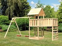 Akubi Spielturm Lotti Satteldach + Doppelschaukel + Anbauplattform XL + Kletterwand