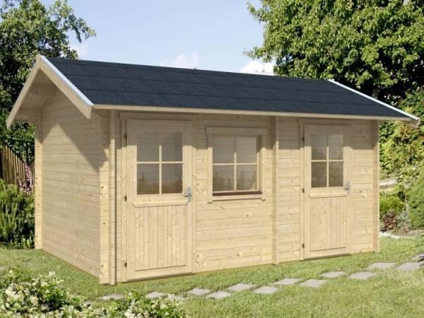 Skan Holz Blockbohlenhaus Lausanna 45plus Dämmbar für Dachziegel
